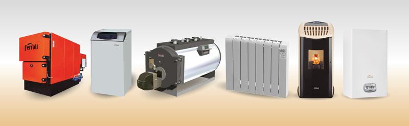 Bodegón de productos de Ferroli para calefacción climatizción y energía solar.