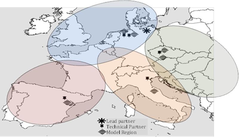 Mapa de Europa con las regiones modelo del proyecto GreenGain.