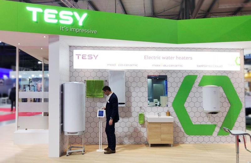 Stand de Tesy en Mostra Convegno Expocomfort, que se celebra en Feria de Milán del 13 al 16 de marzo.