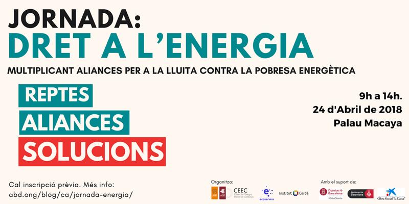 """Anuncio de la jornada """"Derecho a la energía: Multiplicando alianzas para la lucha contra la pobreza energética""""."""