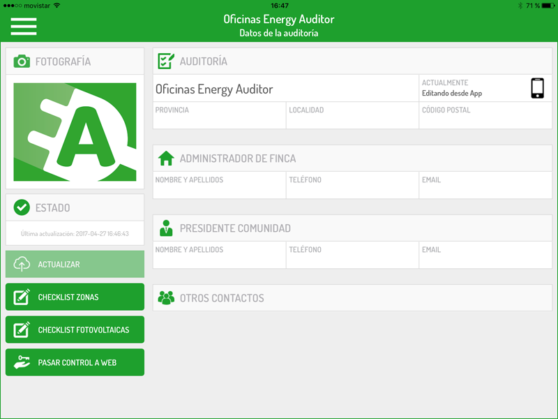 Pantallazo de la App Eergy Auditor.