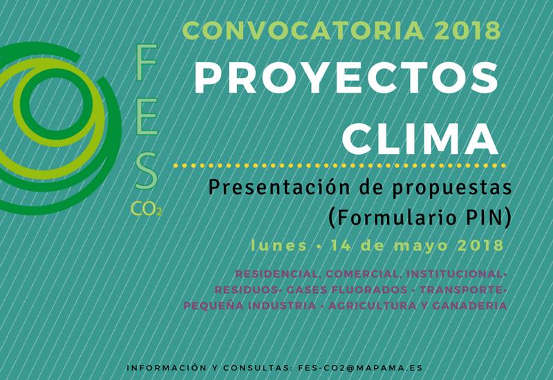 Anuncio Convocatoria 2018 de Proyectos Clima lanzada por FES-CO2.