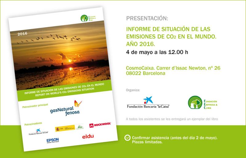 Anuncio de la jornada de presentación en Barcelona del 9º Informe de situación de las emisiones de CO2 en el mundo, 2016.