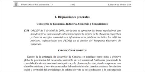 Subvenciones para promover la eficiencia energética y el uso de renovables en la administración pública de Canarias
