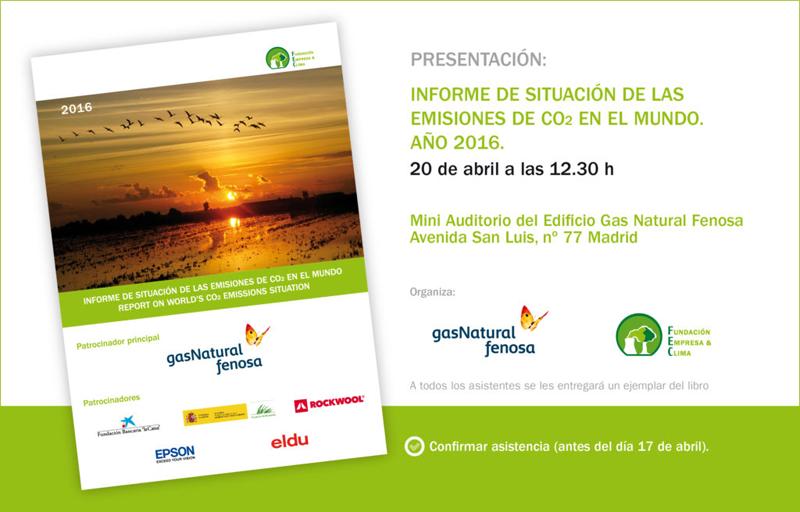 """Invitación a la presentación del """"Informe de situación de las emisiones de CO2 en el mundo. Año 2016"""", el 20 de abril en Madrid."""