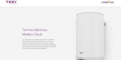 TESY habilita una web para mostrar los beneficios de una instalación con termo eléctrico Modeco Cloud