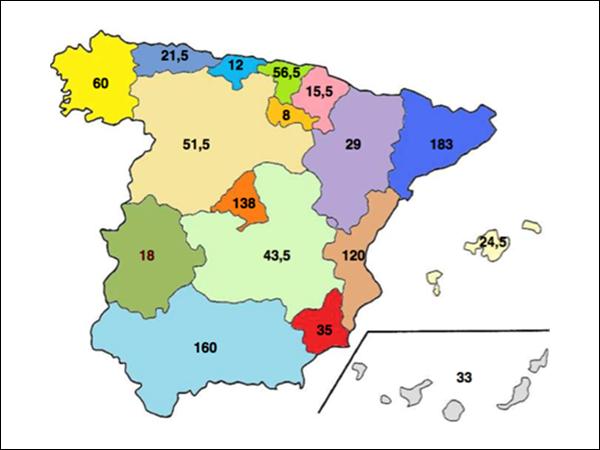 Mapa de España que muestra por comunidades autónomas el gasto total de los hogares en control térmico, excluyendo obra nueva, actividad terciaria y comercial,