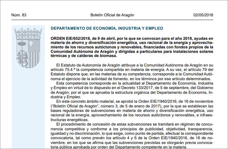 Fragmento de la primera página de la Orden EIE/652/2018, de 9 de abril, publicada en el BOA el 2 de mayo de 2018, por la que se convocan para el año 2018 ayudas en materia de ahorro y diversificación energética.