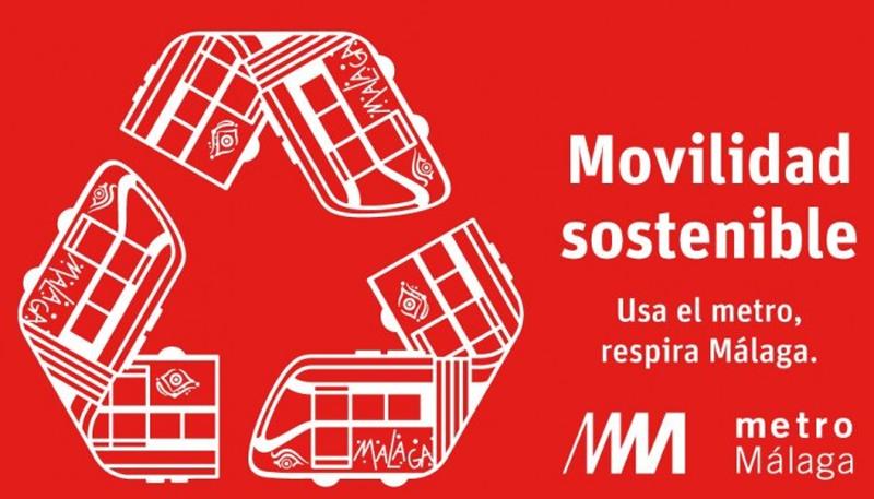 Anuncio sobre el programa de movilidad sostenible de Metro de Málaga.