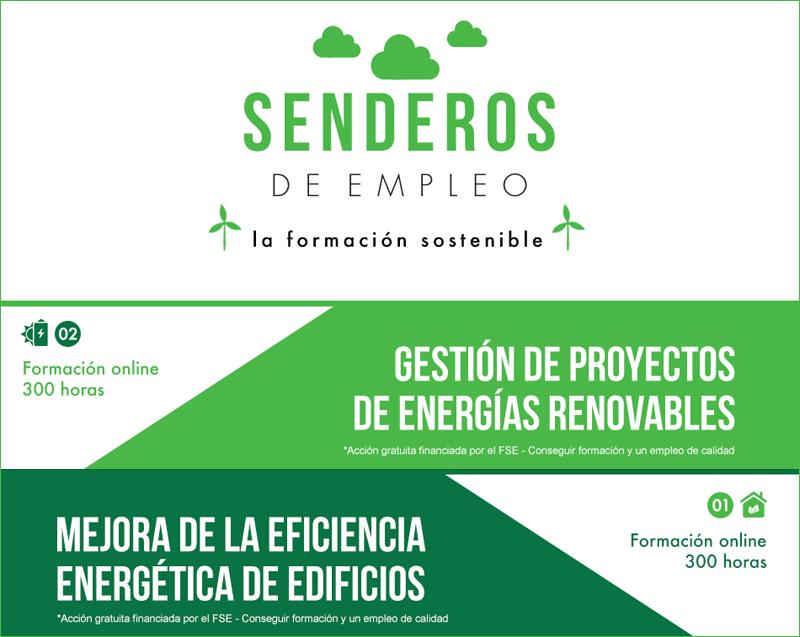 Anuncio de los cursos online gratuitos para desempleados sobre gestión de energías renovables y eficiencia energética de edificios.