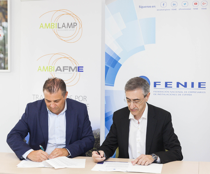 AMBILAMP/AMBIAFME y FENIE suscriben un acuerdo de colaboración para fomentar el reciclaje de aparatos eléctricos entre los instaladores