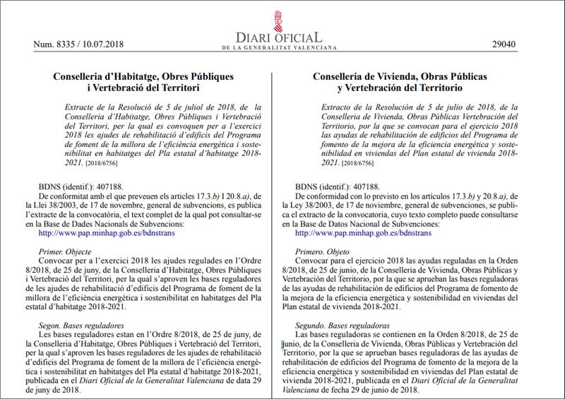 Detalle de publicación en el DOGV.