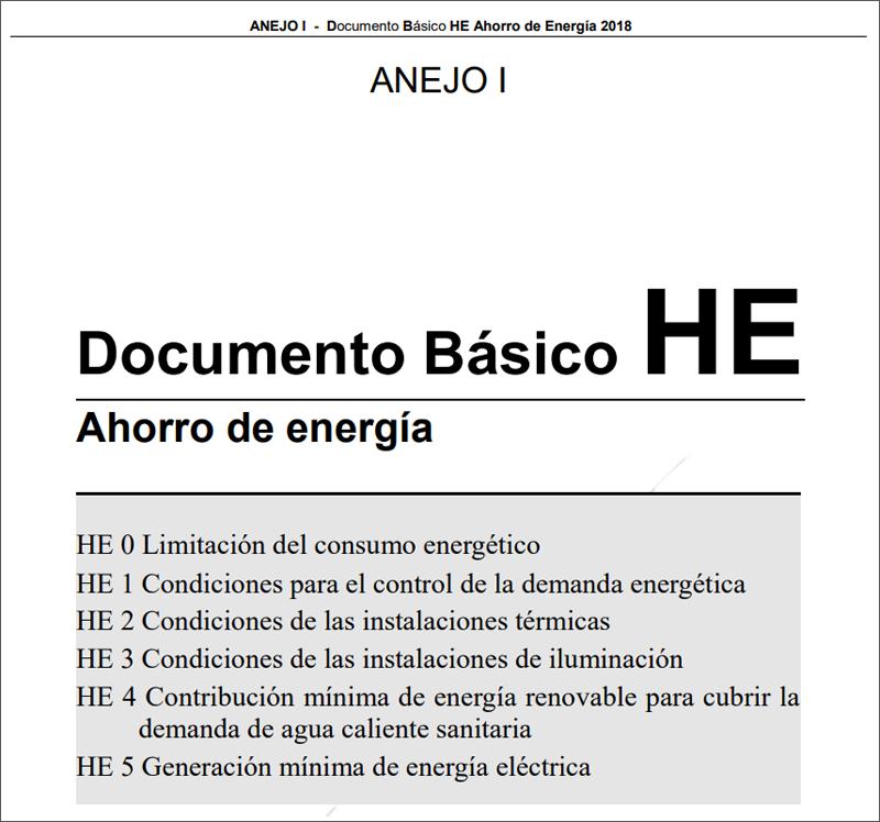 Portada Anejo I Documento Básico HE Ahorro Energía CTE.