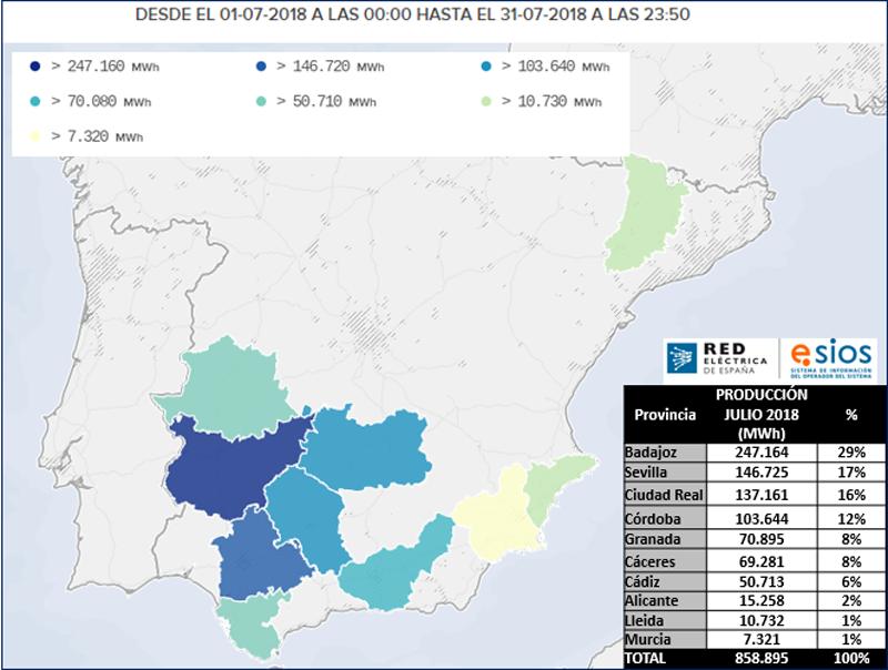 Mapa de generación eléctrica en España a partir de energía termosolar durante el mes de julio de 2018.