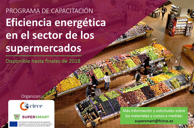 Anuncio del programa de capacitación sobre eficiencia energética en el sector de los supermercados, organizado por Fundación CIRCE y el proyecto europeo SuperSmart.