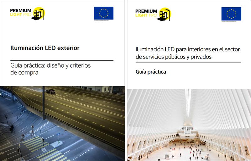 Portadas de las guías sobre iluminación LED interior y exterior en sector servicios.