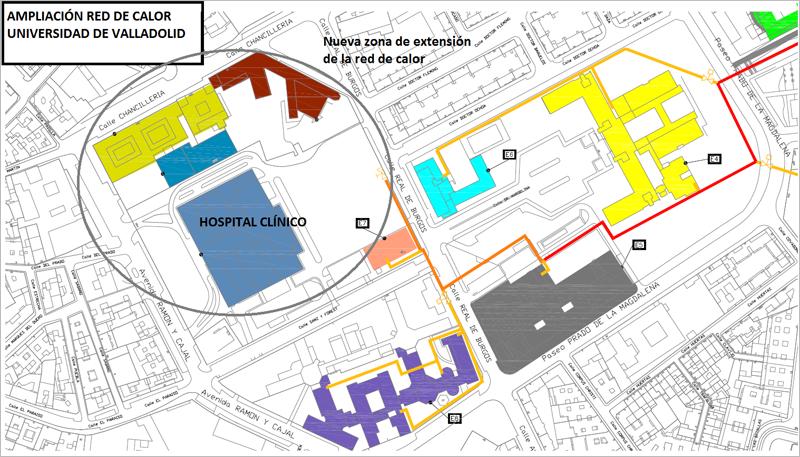 Imagen de la ampliación de la red de calor de la Universidad de Valladolid.