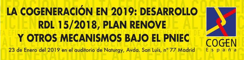 """la jornada """"La cogeneración en 2019: desarrollo RDL 15/2018, Plan Renove y otros mecanismos bajo el PNIEC."""