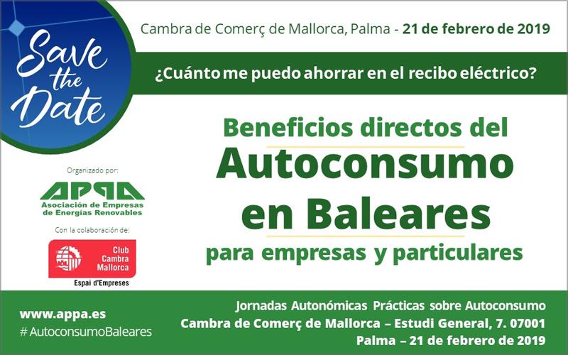 Jornada gratuita sobre aspectos jurídicos y económicos del autoconsumo en Palma de Mallorca