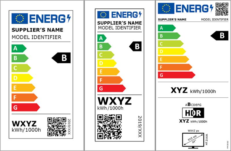 Nuevas etiquetas de eficiencia energética de lámparas y pantallas electrónicas.