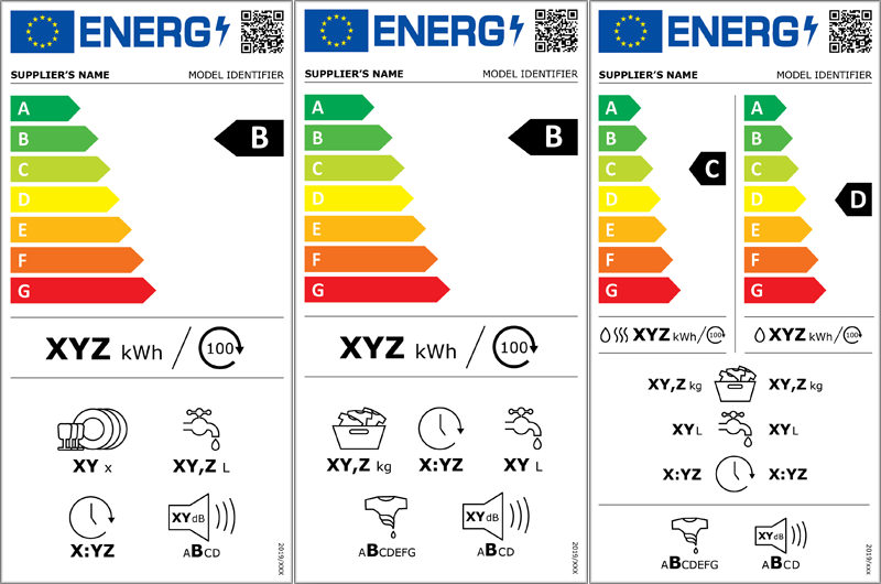 Nuevas etiquetas de eficiencia energética de lavavajillas, lavadoras y lavadoras-secadoras.