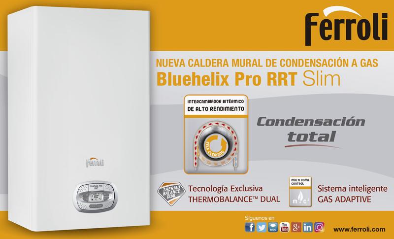 Caldera mural de condensación a gas Bluehelix Pro RRT Slim de Ferroli.