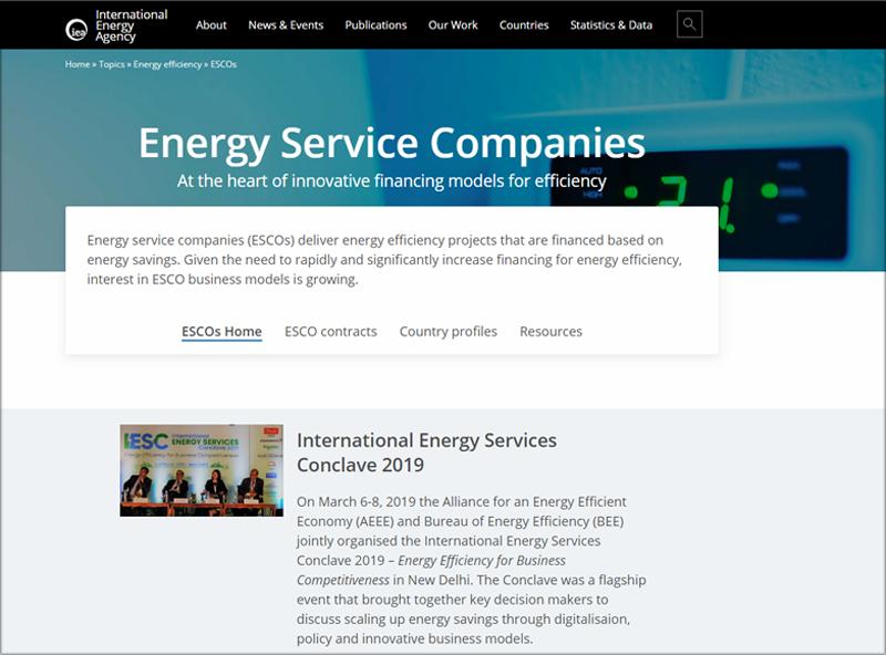 Pantallazo de la web home del espacio dedicado a las empresas de servicios energéticos.