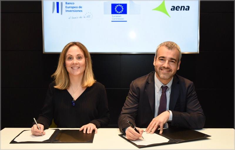 Acto de firma del acuerdo entre el BEI y Aena