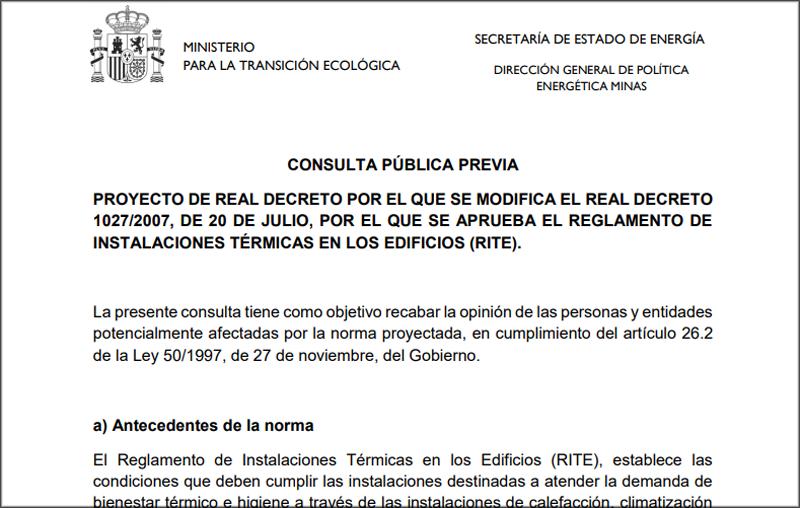 Imagen de la consulta pública referente al Reglamento de Instalaciones Térmicas en los Edificios (RITE).