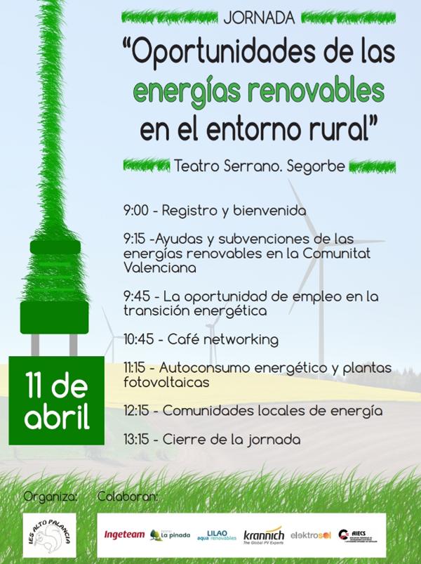 """Cartel de la jornada gratuita """"Oportunidades de las energías renovables"""""""