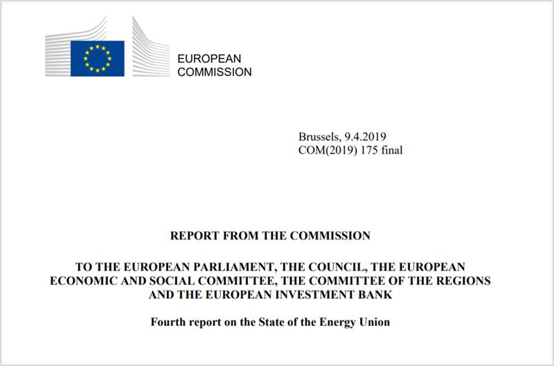 Portada del cuarto informe sobre el Estado de la Unión de la Energía