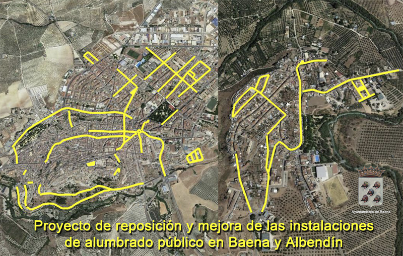 Proyecto de reposición y mejora de las instalaciones de alumbrado público en Baena y Albendín.