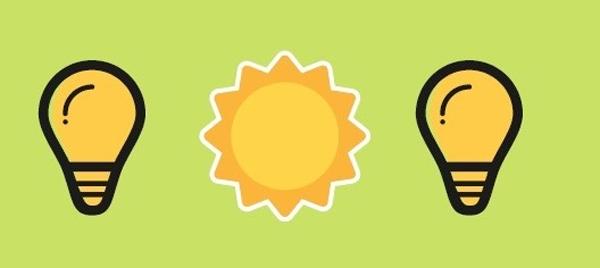 Bombillas- Sol- Ahorro energético.