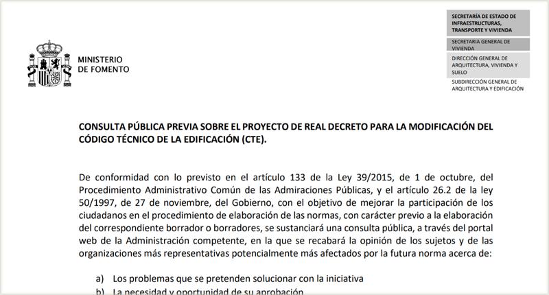 Consulta pública previa sobre el proyecto de Real Decreto para la modificación del Código Técnico de la Edificación.