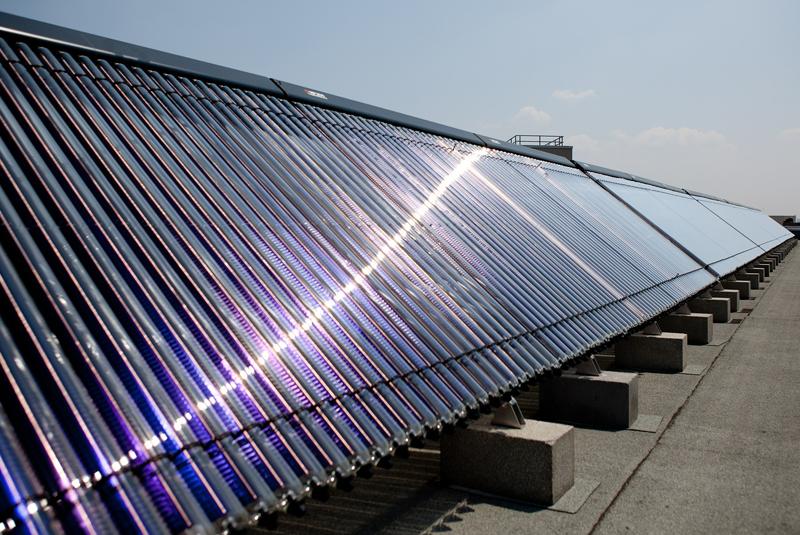 Instalación de energía solar térmica.