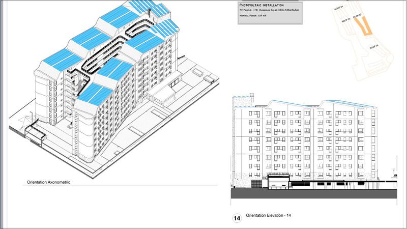 Plano de edificio con instalación fotovoltaica en Gibraltar.