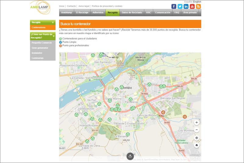 Mapa interactivo de puntos de recogida de bombillas y fluorescentes fundidos de Ambilamp.