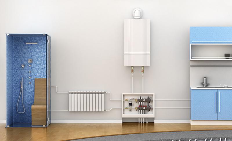 Instalación con caldera de condensación.