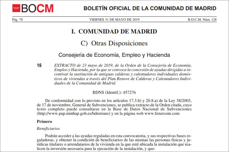 Fragmento del BOCM donde se publica el Extracto de la Orden de 16 de abril de 2019 (BOCM de 22 de mayo de 2019).
