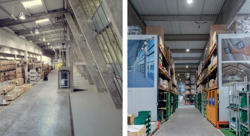 Ejemplo de antes y despúes. Izquierda, pasillo de almacén con luminarias HID. Derecha, con luminarias LED.