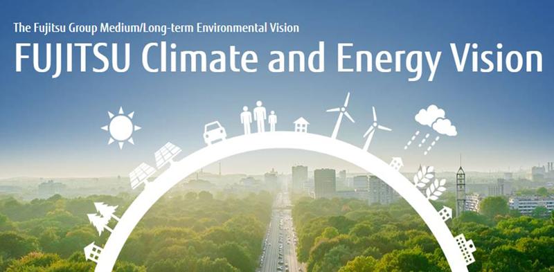 Cartel del Plan de Acción Medioambiental de Fujitsu.