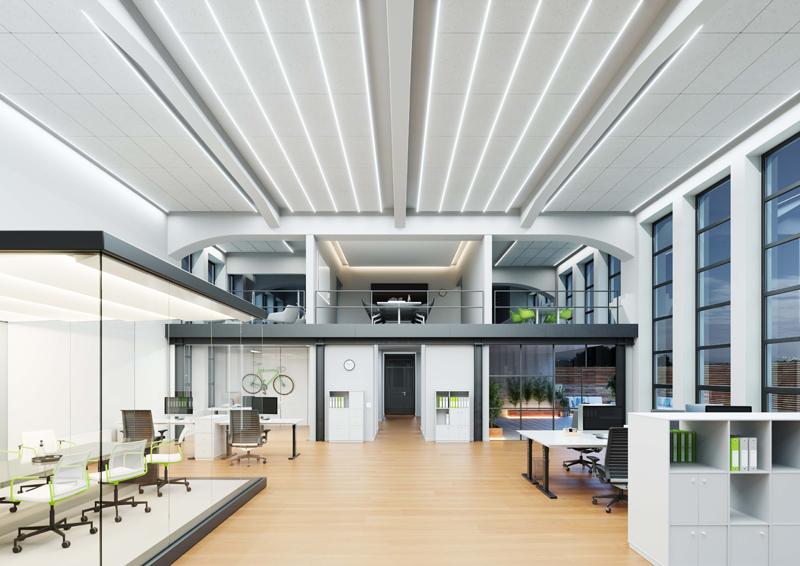 Oficina iluminada con tiras LED.