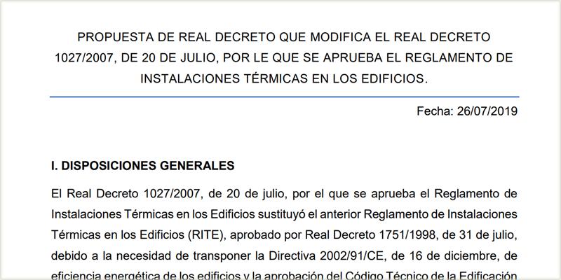 Extracto de la propuesta de real decreto