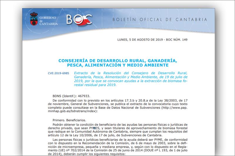 Pantallazo del Extrato de la Resolución por la que se convocan ayudas a la extracción de biomasa forestal residual para 2019 en Cantabria.
