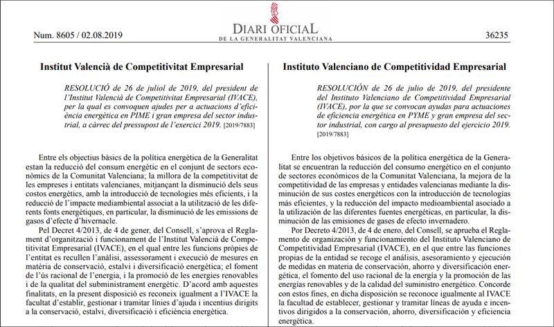 El Diari Oficial de la Generalitat Valenciana publicó la convocatoria el pasado 2 de agosto de 2019.