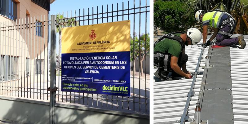 Instalación de las placas fotovoltaicas en el cementerio general del Ayuntamiento de Valencia.