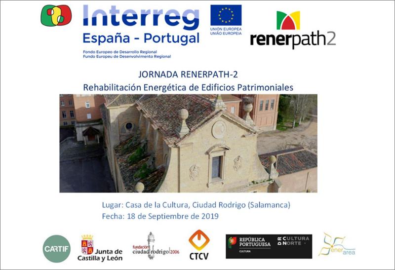Anuncio de la jornada gratuita sobre rehabilitación energética en edificios patrimoniales.