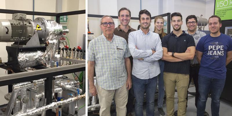 A la izquierda, prototipo de bomba de calor de alta temperatura desarrollada por el grupo Istener de la UJI. A la derecha, equipo de investigadores participantes en el proyecto.