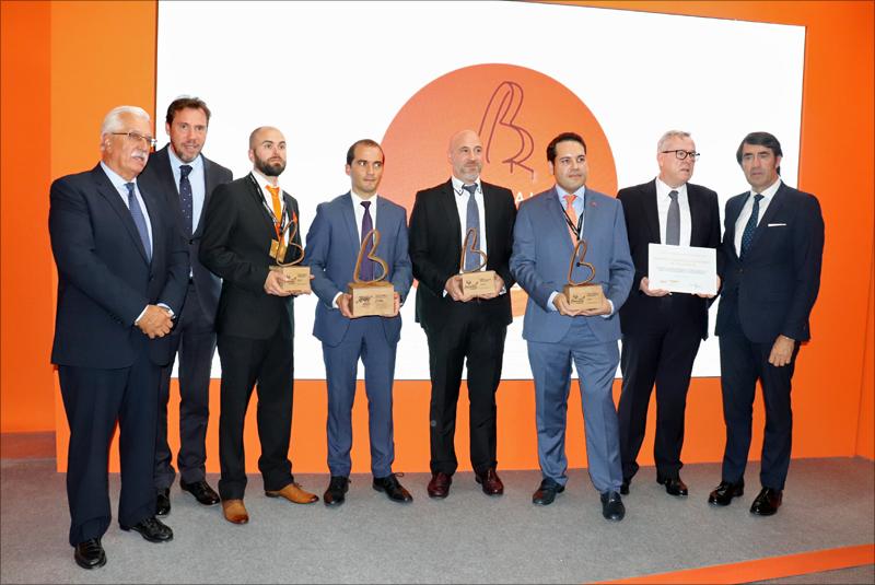 Galardonados Expobioamasa 2019 con los Premios 'Fomenta la bioenergía' e 'Innovación'. Además, hubo dos áccesits y un diploma al Hospital Clínico de Valladolid por su conexión a la red de calefacción de la Universidad de Valladolid.