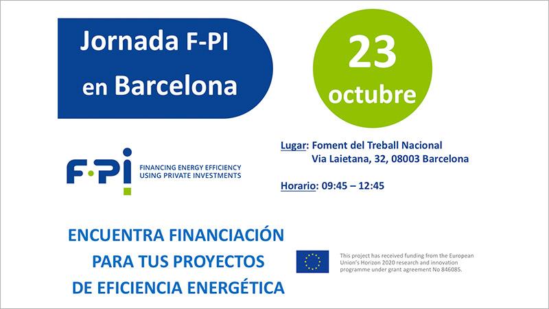 anuncio de la jornada del proyecto F-PI que tendrá lugar en Barcelona el 23 de octubre.